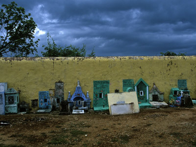Hand Painted Graves At The Cemetery In Hoctun by Stephen Alvarez Pricing Limited Edition Print image