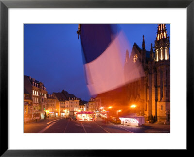 View Of Place De La Reunion And Temple St. Etienne Church, Mulhouse, Haut Rhin, Alsace, France by Walter Bibikow Pricing Limited Edition Print image