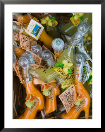 Shoe Shaped Bottles Of Limoncello Liquor, Ischia Ponte, Ischia, Bay Of Naples, Campania, Italy by Walter Bibikow Pricing Limited Edition Print image