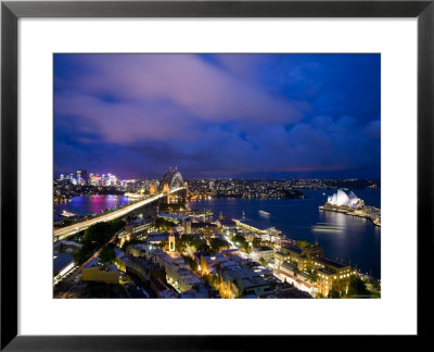 Australia, New South Wales, Sydney Harbour Bridge And Sydney Opera House From The Rocks Area by Walter Bibikow Pricing Limited Edition Print image
