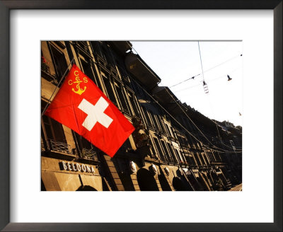 Swiss Flag On Marktgasse, Bern, Switzerland by Glenn Beanland Pricing Limited Edition Print image