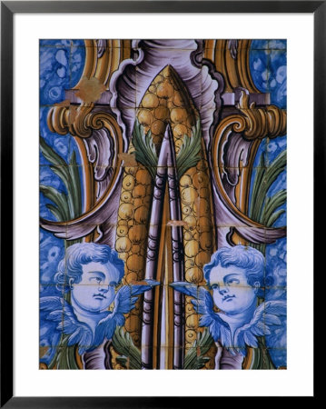 Traditional Azulejos Design On Camara Municipal, Cascais, Portugal by Anders Blomqvist Pricing Limited Edition Print image