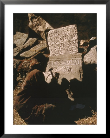 A Man Inscribes A Stone Marker With The Name Of A Climber Killed On Mount Everest by Barry Bishop Pricing Limited Edition Print image