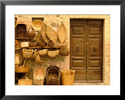 Montalcino, Basket Seller And Wall, Tuscany, Italy by Walter Bibikow Pricing Limited Edition Print image