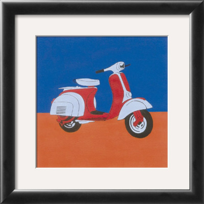 Blue And Red Motor Scooter by Miriam Bedia Pricing Limited Edition Print image