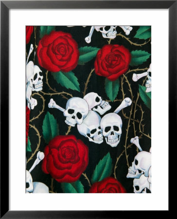 Day Of Dead Fabric, Olvera Street Market, El Pueblo De Los Angeles, Los Angeles, California, Usa by Walter Bibikow Pricing Limited Edition Print image