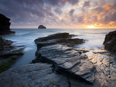Trebarwith Strand And Gull Rock At Sunset, Cornwall, England, United Kingdom, Europe by Adam Burton Pricing Limited Edition Print image