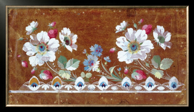 Floral Embroidery Design With Flowers And Strawberries by Jean-Francois Bony Pricing Limited Edition Print image