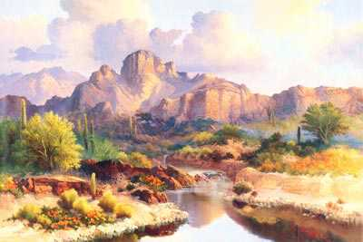Saguaros Morning Sun by Beverly Carrick Pricing Limited Edition Print image