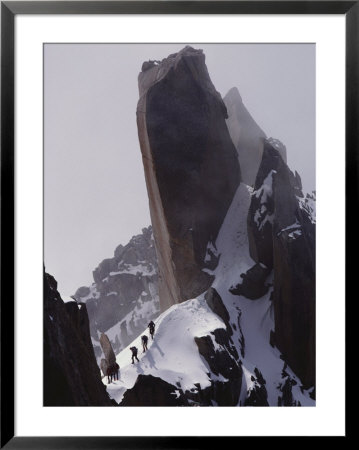 Climbers Move Carefully Across Steep Mountain Slopes by Paul Chesley Pricing Limited Edition Print image