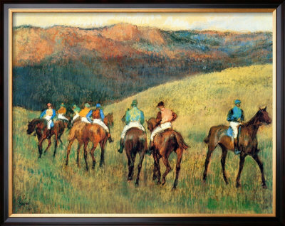 Racehorses In A Landscape by Edgar Degas Pricing Limited Edition Print image
