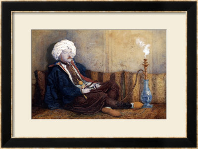 Portrait Of Sir Thomas Phillips In Eastern Costume, Reclining With A Hookah by Richard Dadd Pricing Limited Edition Print image