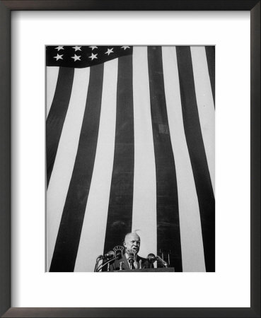 Presidential Candidate Dwight D. Eisenhower Making Campaign Speech In Front Of Large American Flag by John Dominis Pricing Limited Edition Print image
