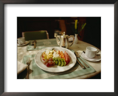A Fruit Plate Of Pineapple, Kiwi, Papaya, Grapes, Apple, And Watermelon by Eightfish Pricing Limited Edition Print image