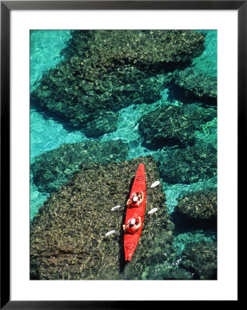 Kayakers In Clear Blue Water Off The Shore Of San Jose Island by Ralph Lee Hopkins Pricing Limited Edition Print image