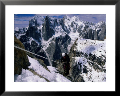 Expedition Member Ascends A Fixed Rope On Nameless Tower by Bill Hatcher Pricing Limited Edition Print image