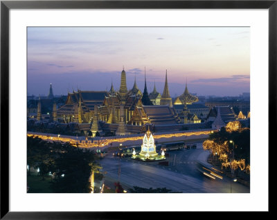 Wat Phra Kaew, The Temple Of The Emerald Buddha, And The Grand Palace At Dusk In Bangkok, Thailand by Gavin Hellier Pricing Limited Edition Print image