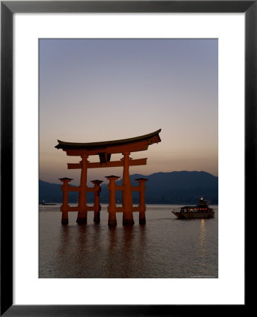 Vermillion Coloured 'Floating' Torii Gate Illuminated At Dusk, A Shinto Shrine Gate, Miyajima by Gavin Hellier Pricing Limited Edition Print image