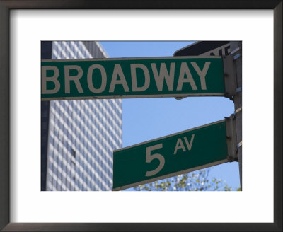 Broadway And 5Th Avenue Street Signs, Manhattan, New York City, New York, Usa by Amanda Hall Pricing Limited Edition Print image