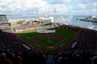 San Francisco, Ca - Oct. 22: Giants V Cardinals - A General View During The National Anthem by Thearon W. Henderson Pricing Limited Edition Print image