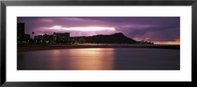 Silhouette Of Buildings On The Beach, Diamond Head, Waikiki Beach, Oahu, Hawaii, Usa by Panoramic Images Pricing Limited Edition Print image