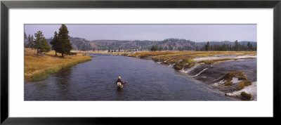 Fisherman Fishing In A River, Firehole River, Yellowstone National Park, Wyoming, Usa by Panoramic Images Pricing Limited Edition Print image