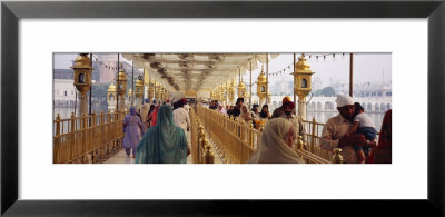Group Of People Walking On A Bridge Over A Pond, Golden Temple, Amritsar, Punjab, India by Panoramic Images Pricing Limited Edition Print image