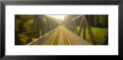 Railroad Tracks Passing Through A Bridge, Germany by Panoramic Images Pricing Limited Edition Print image