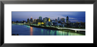Skyscrapers Lit Up At Dusk, Brisbane, Queensland, Australia by Panoramic Images Pricing Limited Edition Print image