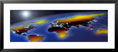Flight Plan Marked On A Globe by Panoramic Images Pricing Limited Edition Print image