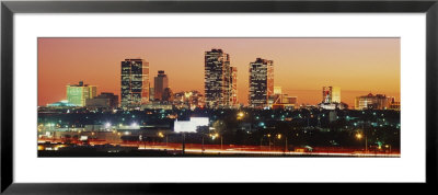 Buildings Lit Up At Dusk, Fort Worth, Texas, Usa by Panoramic Images Pricing Limited Edition Print image
