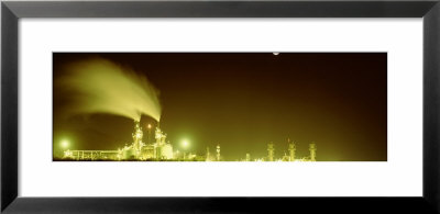 Oil Refinery Lit Up At Night, Gaviota Plant Oil Refinery, Santa Barbara County, California, Usa by Panoramic Images Pricing Limited Edition Print image