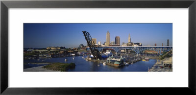 Boats In A River, Cleveland, Ohio, Usa by Panoramic Images Pricing Limited Edition Print image