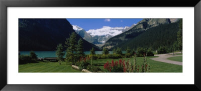 Mountains Surrounding A Lake, Lake Louise, Canadian Rockies, Alberta, Canada by Panoramic Images Pricing Limited Edition Print image