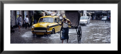 Cars And A Rickshaw On The Street, Calcutta, West Bengal, India by Panoramic Images Pricing Limited Edition Print image