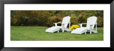 White Adirondack Chairs On A Lawn, Stowe, Vermont, Usa by Panoramic Images Pricing Limited Edition Print image