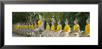 Statues Of Buddha In A Temple, Wat Yai Chai Ya Mongkhon, Ayuthaya, Thailand by Panoramic Images Pricing Limited Edition Print image