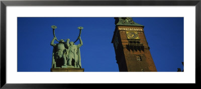 Low Angle View Of A Statue And A Clock Tower, City Hall Square, Copenhagen, Denmark by Panoramic Images Pricing Limited Edition Print image