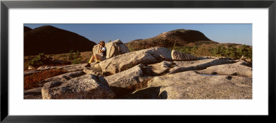 A Young Woman Sitting, Champlain Mountain, Acadia National Park, Mount Desert Island, Maine, Usa by Panoramic Images Pricing Limited Edition Print image