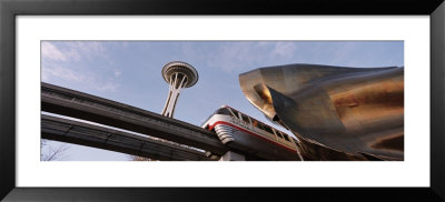 Low Angle View Of The Monorail And Space Needle, Seattle, Washington State, Usa by Panoramic Images Pricing Limited Edition Print image