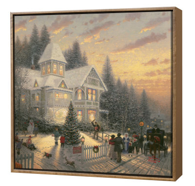 Victorian Christmas - Framed Fine Art Print On Canvas - Wood Frame by Thomas Kinkade Pricing Limited Edition Print image