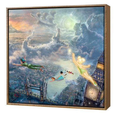 Tinker Bell And Peter Pan - Framed Fine Art Print On Canvas - Wood Frame by Thomas Kinkade Pricing Limited Edition Print image