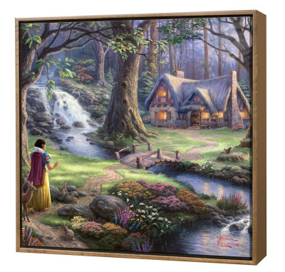 Snow White Discovers Cottage - Framed Fine Art Print On Canvas - Wood Frame by Thomas Kinkade Pricing Limited Edition Print image