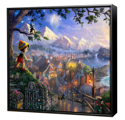 Pinocchio Wishes Upon A Star -  Framed Fine Art Print On Canvas - Black Frame by Thomas Kinkade Pricing Limited Edition Print image