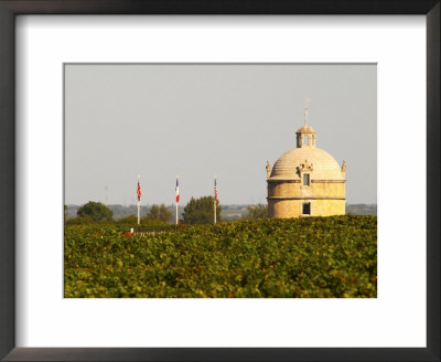 Tower And Flags Of Chateau Latour Vineyard In Pauillac, France by Per Karlsson Pricing Limited Edition Print image