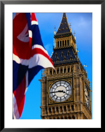 The Union Jack Flag And Big Ben, London, England by Doug Mckinlay Pricing Limited Edition Print image