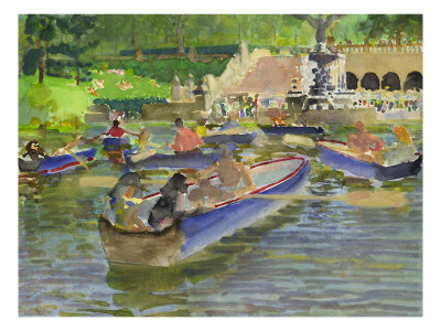 Watercolor Painting Of Boats On In The Water At Central Park In New York City by Images Monsoon Pricing Limited Edition Print image