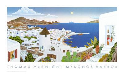 Mykonos Harbor by Thomas Mcknight Pricing Limited Edition Print image
