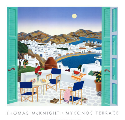 Mykonos Terrace by Thomas Mcknight Pricing Limited Edition Print image
