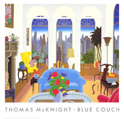 Blue Couch by Thomas Mcknight Pricing Limited Edition Print image